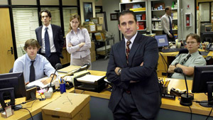 Michael Scott, Dwight Schrute, Jim Halpert, Pam Beesley y Ryan Howard, los personajes principales de 'The Office'.
